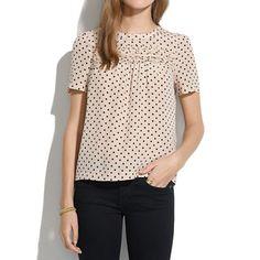 Silk Scallop-Ruffle Tee in Dot - blouses - Women's SHIRTS  TOPS - Madewell
