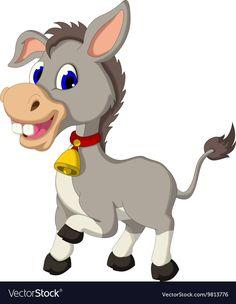Cute donkey cartoon posing vector image on VectorStock Cartoon Giraffe, Cute Cartoon Animals, Cartoon Faces, Cute Baby Animals, Doodle Art Drawing, Drawing For Kids, Retro Cartoons, Disney Cartoons, Cute Donkey
