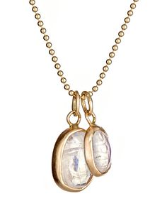 The Christine Mighion moonstone double pendant necklace is perfect for work or play | max and chloe