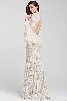 White Bell Sleeve Prom Dress 35160
