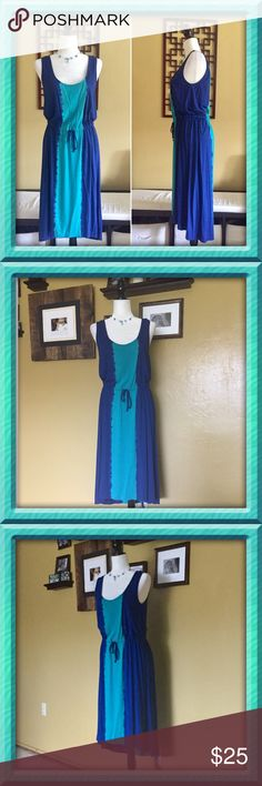 💙Calvin Klein Tank Maxi Dress Super Cute Calvin Klein Tank Maxi Dress    Size: 6   High/Low hem with shoulder snaps to keep bra strap in place and hidden.  Great condition.  Perfect for Spring and Summer! Calvin Klein Dresses Maxi