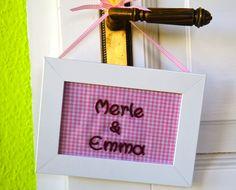 Awesome rosa kariertes Namensschild T rschild rosa personalisiertes Schild Kinderzimmer Schild Dekoration mit individueller