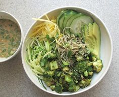 Summery soba noodle bowls with raw and roasted seasonal vegetables is the  ideal simple and satiating end-of-summer meal. For this bowl, I tossed  broccoli with cayenne pepper and chili powder to create a spicy coating and  roasted until tender and slightly crisp. Thinly shredded raw zucchini and  squash paired nicely withbrown rice and wakame soba. To bring all the  ingredients together, a quick lime and herb laced ginger tahini sauce was  the ideal dressing for this light and summery…
