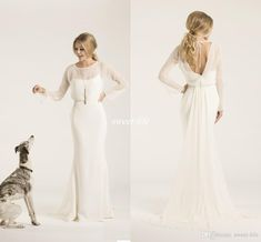 Sheath Crew Neck Low Back Amy Kuschel Couture Boho Wedding Dresses With Illusion Long Sleeves Chiffon 2016 Simple Bridal Gowns Sweep Train Online with $98.93/Piece on Sweet-life's Store | DHgate.com