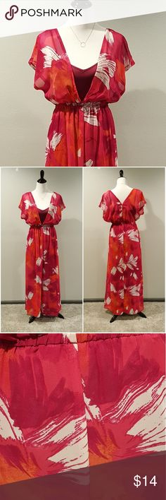 🏵 4/$20 Mossimo Maxi Dress Two piece maxi dress by Mossimo. Watercolor print in stunning shades of fushia, pink, orange and white (color best shown in pic 3). Top layer is a sheer silky chiffon, bottom layer is a deep wine jersey fabric slip. Easy to dress up or down.  Runs generous - could fit S also.  Overall great condition. Has small snag on neckline (pic 4) but is barely visible when wearing (pic 5). Price reflects.  Measurements available upon request. Mossimo Supply Co. Dresses Maxi