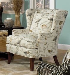 9020 Chair Ottoman B Y Mayo In Birdsong Seamist Fabric