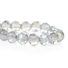 90  Clear AB Coated Crystals Round Faceted  by ChezChaniSupply