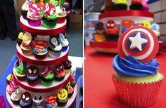 geek cupcake tower http://whengeekswed.com/blog1/wp-content/uploads/2012/06/superherocupcakes.jpg
