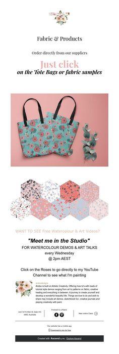 Fabric Samples, Watercolor Art, Tote Bag, Fabric Swatches, Watercolor Painting, Totes, Watercolour, Tote Bags