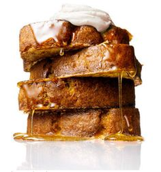 Banana Bread French Toast with vanilla maple syrup and lemon sour cream