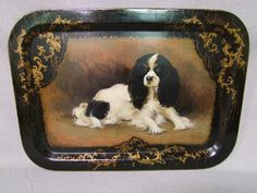 English 19th Century painted tole tray with a portrait of Tricolour King Charles Spaniel, 'Dash', Queen Victoria's favorite