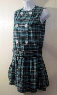 Vintage Plaid SteamPunk Extra Small Mini Dress by BeauMondeVintage, $48.00
