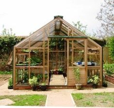 The Twelve Classic Cedar Greenhouse - The classic 12 x 12 greenhouse built with the finest western red cedar perfect for garden enthusiasts Patio Design, Garden Design, Hidden House, Wooden Greenhouses, Greenhouse Plans, Backyard Greenhouse, Lean To, Urban Farming, Glass House