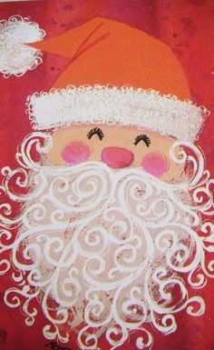 Vintage Mod Santa. Change his hat to a bishop's mitre and this would be a great St. Nicholas' Day art project.