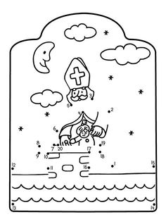 * Cijfertekening: Sinterklaas Disney Frozen, St Nicholas Day, Christmas Crafts For Gifts, Daycare Crafts, 1st Grade Math, Preschool Worksheets, Coloring Pages For Kids, Diy For Kids, Saints