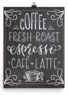 Chalkboard Coffee Fresh Roast Art Print - PrintableHaven - 1