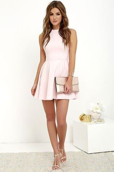 With numbers of events on the agenda, this grandiose minimal pink sleeveless short skater dress featuring crew neckline carry you through each outing with elegance!The soft fabric falls from a classic.. #partydress