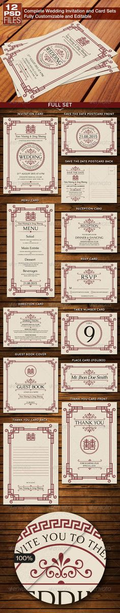 Oriental Style Wedding Invitation and Card Sets  #template #cards #print #invites