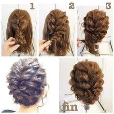 #hairarrenge * フィッシュボーンとロープ編みこみのアップスタイル * #アレンジ解説 * ①センターの髪をネープ部分を残しフィッシュボーンであみこみます。それを内側に丸めてピンでとめます。 * ②残りの両側の髪を上下2段のロープ編みこみにしていきます。一段めの右側を編んで真ん中よりやや左にピンでとめます。反対側も同様にします。 * ③2段めも同様にします。 * 所々髪を引き出して出来上がりです♪♪ * #hair#hairset#hairmake#hairstyle#ヘア#ヘアアレンジ#アレンジヘア#ヘアメイク#ヘアセット#ヘアスタイル#簡単ヘア#簡単ヘアスタイル#ヘアアレンジ解説#アップスタイル#アップヘア#ブライダルヘア