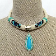 Necklace - Crochet Bead Necklace - Eyes Necklace - Tiger's eyes - Bead Crochet Necklace -