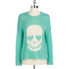 Vintage Havana Skull Graphic Knit Sweater ($68) ❤ liked on Polyvore