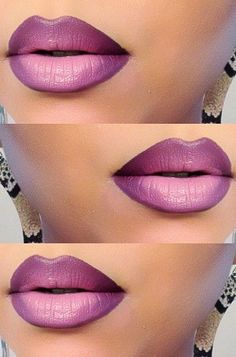 I don't normally wear lipstick, but I love how this looks! Purple Ombre Lips by Melissa M. Click the pic to see the fab products she used. Pretty Makeup, Love Makeup, Makeup Looks, Makeup Tips, Makeup Tutorials, Makeup Ideas, Purple Ombre, Violet Ombre, Lipstick Colors
