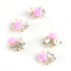 Rain Queen Alloy Silver Acrylic Pink Rose Flower 3d Nail Art Rhinestones Pearls Glitter Decal Stickers for DIY Decor Pack of 5pcs * Tried it! Love it! Click the image.   Glitter Makeup