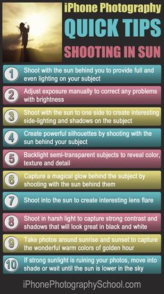 10 Quick Tips For Taking Amazing iPhone Photos In Sun: Discover the secrets to taking incredible iPhone photos in sunny conditions with these ten quick and easy tips. http://iphonephotographyschool.com/quick-tips-sun