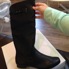 Style & co black mid calf flat boots Style & co mid calf flat boots. New in box Style & Co Shoes Combat & Moto Boots