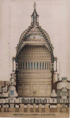 "visicert: Thomas U. Walter ""Section through Dome of U.S. Capitol,"" 1859 Ink and water color on paper Bequeathed to the Library of Congress by Ida Walter, 1915"