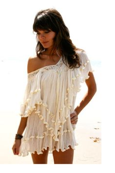 Jen's Pirate Booty Poncho Villa Ruffle Dress in Natural