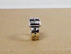 Sterling Silver Wide Belt Buckle Ring - Wide Belt, Bondage, Fashion, or Statement Ring Size 6.5, $102.00