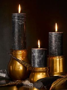 Not sure if the candle holders are brass or copper, but it's all beautiful.