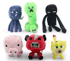 Minecraft Plush Toys all Baby Pig Ocelot Mooshroom-Cow Enderman Creeper 6pics
