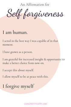 An affirmation for self forgiveness. A pivotal step in accepting yourself An affirmation for self forgiveness. A pivotal step in accepting yourself Affirmations Positives, Positive Affirmations Quotes, Self Love Affirmations, Affirmation Quotes, Positive Quotes, Healing Affirmations, Positive Mindset, Wisdom Quotes, Wife Quotes