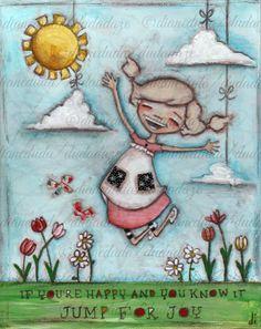 "Original Folk Art Childrens Nursery Painting 8 x 10 by DUDADAZE, $55.00 ""Jump for Joy"" ©dianeduda/dudadaze"