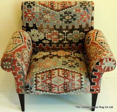 Anatolian Kilim Butterfly Chair - London House of Rugs Love Chair, Diy Chair, Blue Dining Room Chairs, Chair Upholstery, Upholstered Chairs, French Chairs, London House, Camping Chairs, Butterfly Chair