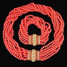 Vintage Faux Coral Beaded Necklace and Bracelet Set, Ciner, ca.