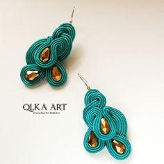 Delicate earrings soutache sea-green