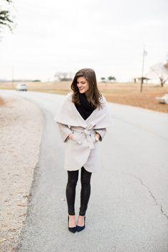 ON SALE!! // Olivia Pope inspired wrap coat, off-white winter coat, large lapel wrap coat, cute winter coat