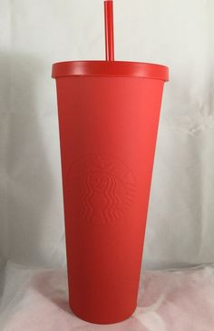 Starbucks Christmas Dot Red Matte Acrylic Plastic Cold Cup 24oz Venti #Starbucks