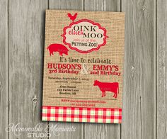 PRINTABLE INVITATIONS Vintage Petting Zoo or Farm Party Celebration - Birthday Party - Red and Burlap design - Memorable Moments Studio