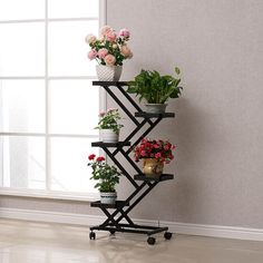 Online Shop pergola With wheels Standing flower pot rack shelf for living room of balcony Metal Plant Stand, Wooden Plant Stands, Diy Plant Stand, Iron Furniture, Home Decor Furniture, House Plants Decor, Plant Decor, Indoor Balcony, Indoor Plants