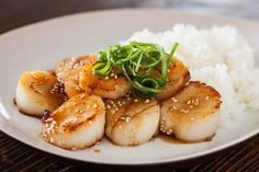 Scallop with Mustard Miso Sauce ~ http://steamykitchen.com