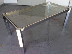 MILO BAUGHMAN: Vintage Mid-Century Modern Chrome-Glass Dining Table #MiloBaughman