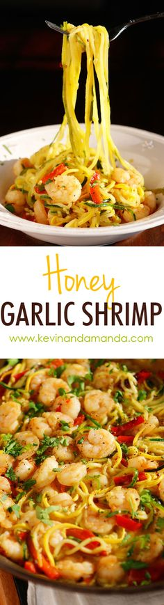 Honey Garlic Shrimp - The PERFECT summer recipe! Sautéed shrimp and red bell peppers poured over a bed of spiralized zucchini and yellow squash. So easy and delicious! Healthy Recipes, Fish Recipes, Seafood Recipes, Great Recipes, Cooking Recipes, Favorite Recipes, Recipes Dinner, Paleo Dinner, Delicious Recipes