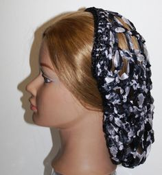 BLACK,Grey & White Silky RIBBON Civil War, Hair Snood,Hairnet,Renaissance, reenactment,Day wear, Hair Snood,Costume, by ZzDesign on Etsy