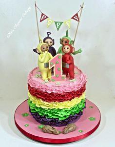 Teletubbie Cuteness - Cake by Ellie @ Ellie's Elegant Cakery Teletubbies Birthday Cake, Teletubbies Cake, 1st Birthday Cakes, Baby Girl First Birthday, Poppy Cake, Cake Kids, Ruffle Cake, Decorated Cakes, Love Cake