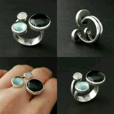 A new open ring with 3 stones, onyx, sky blue topaz, rainbow moonstone. Contemporary Jewellery, Modern Jewelry, Jewelry Art, Jewelry Rings, Silver Jewelry, Jewelry Accessories, Jewelry Design, Silver Earrings, Fimo Ring
