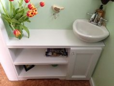 Great idea for basement bathroom.Tiny bathroom storage idea